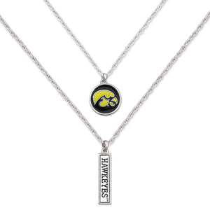 Iowa Hawkeyes Double Down Necklace