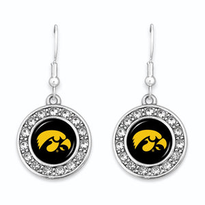 Iowa Hawkeyes Abby Girl Round Crystal Earrings
