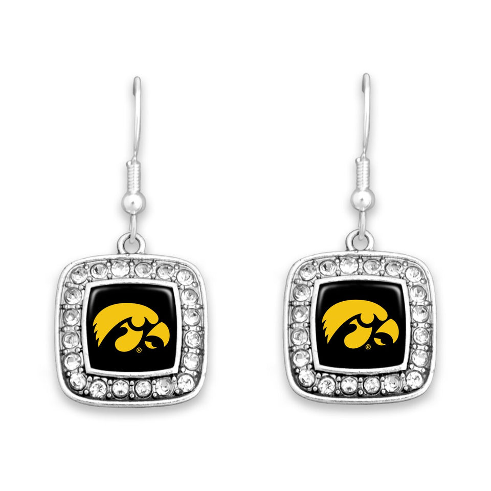Iowa Hawkeyes Square Crystal Charm Kassi Earrings
