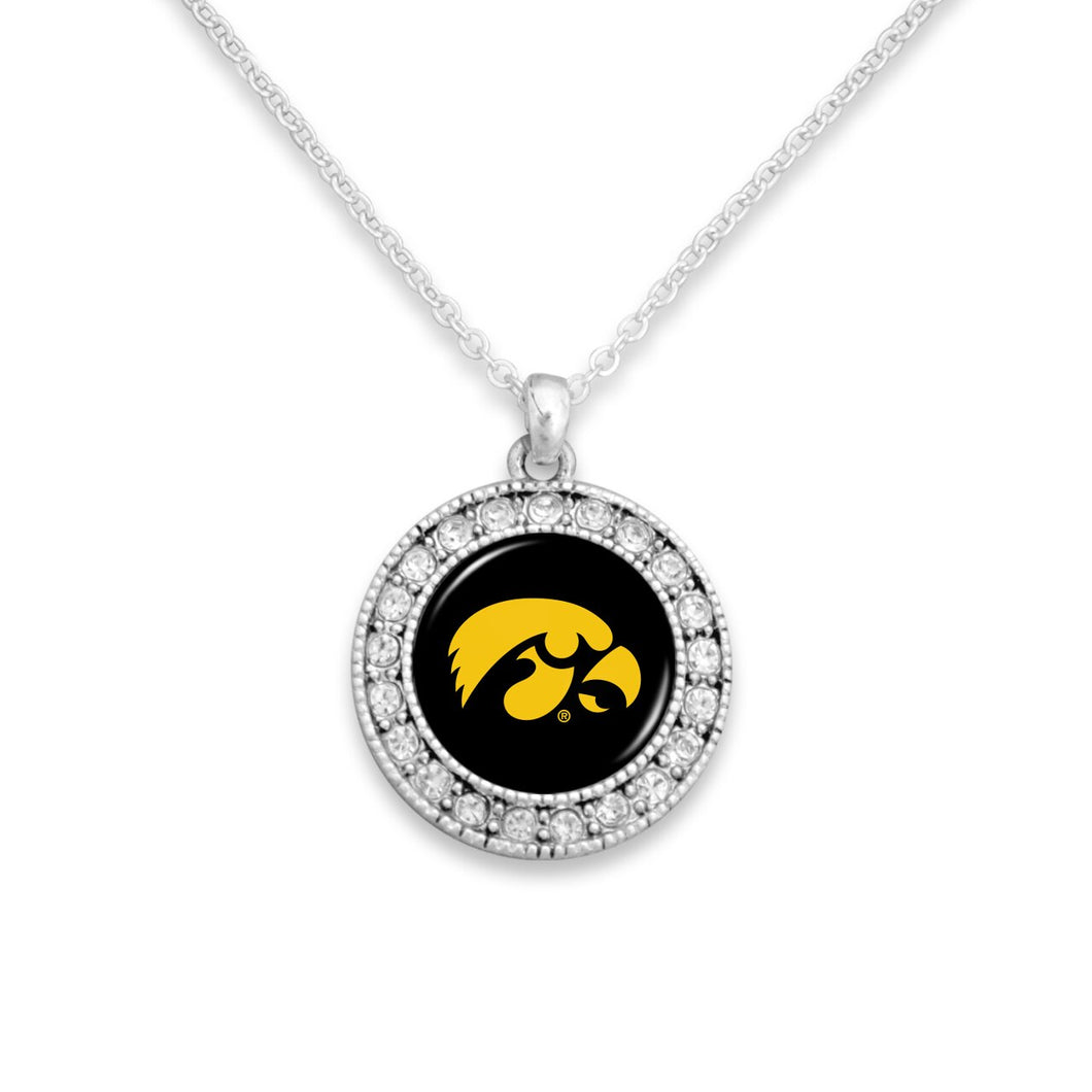 Iowa Hawkeyes Kenzie Round Crystal Charm Necklace