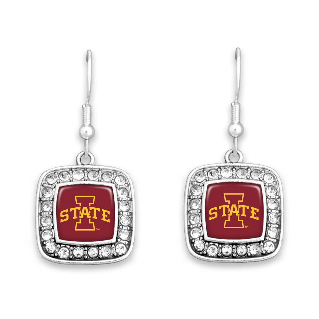 Iowa State Cyclones Square Crystal Charm Kassi Earrings