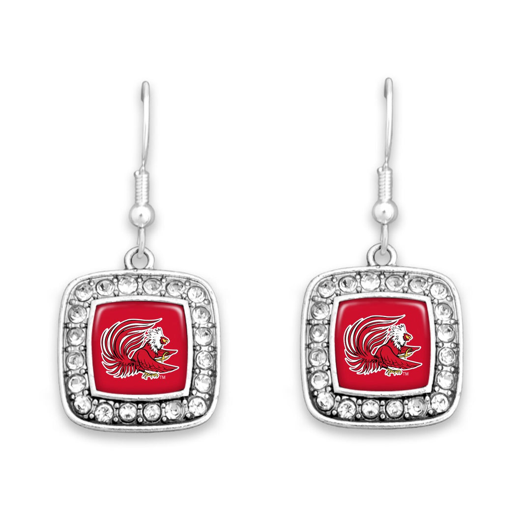 Jacksonville State Gamecocks Square Crystal Charm Kassi Earrings