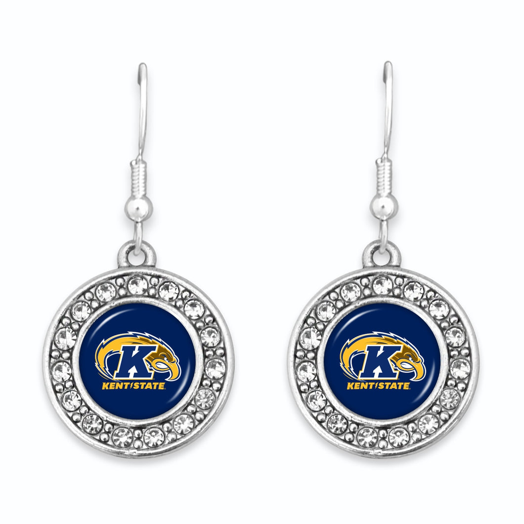 Kent State Golden Flashes Abby Girl Round Crystal Earrings