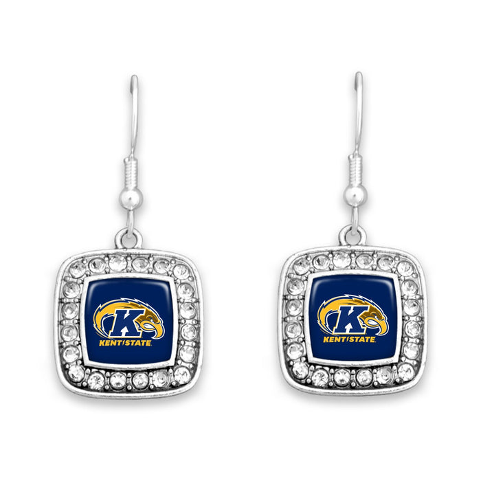Kent State Golden Flashes Square Crystal Charm Kassi Earrings