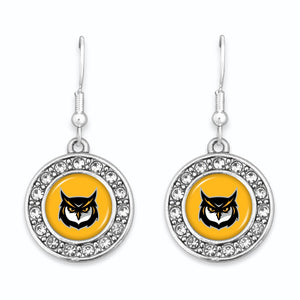 Kennesaw State Owls Abby Girl Round Crystal Earrings