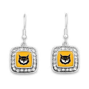 Kennesaw State Owls Square Crystal Charm Kassi Earrings