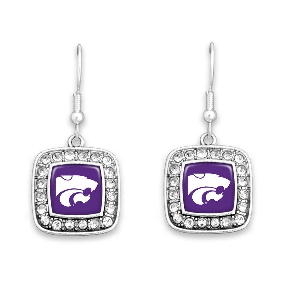 Kansas State Wildcats Square Crystal Charm Kassi Earrings