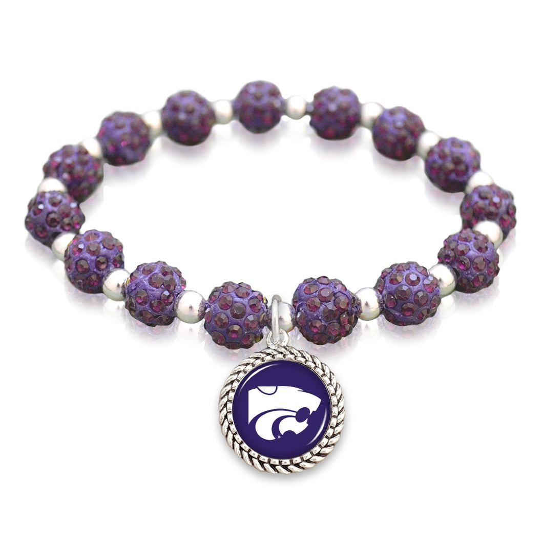 Kansas State Wildcats Team Color Sparkle Stretchy Bracelet