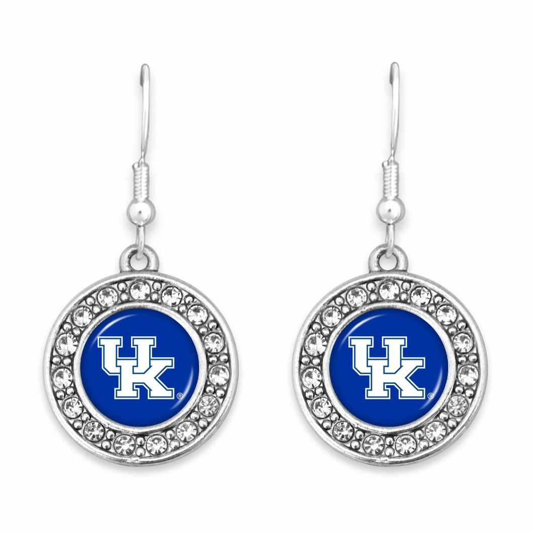 Kentucky Wildcats Abby Girl Round Crystal Earrings