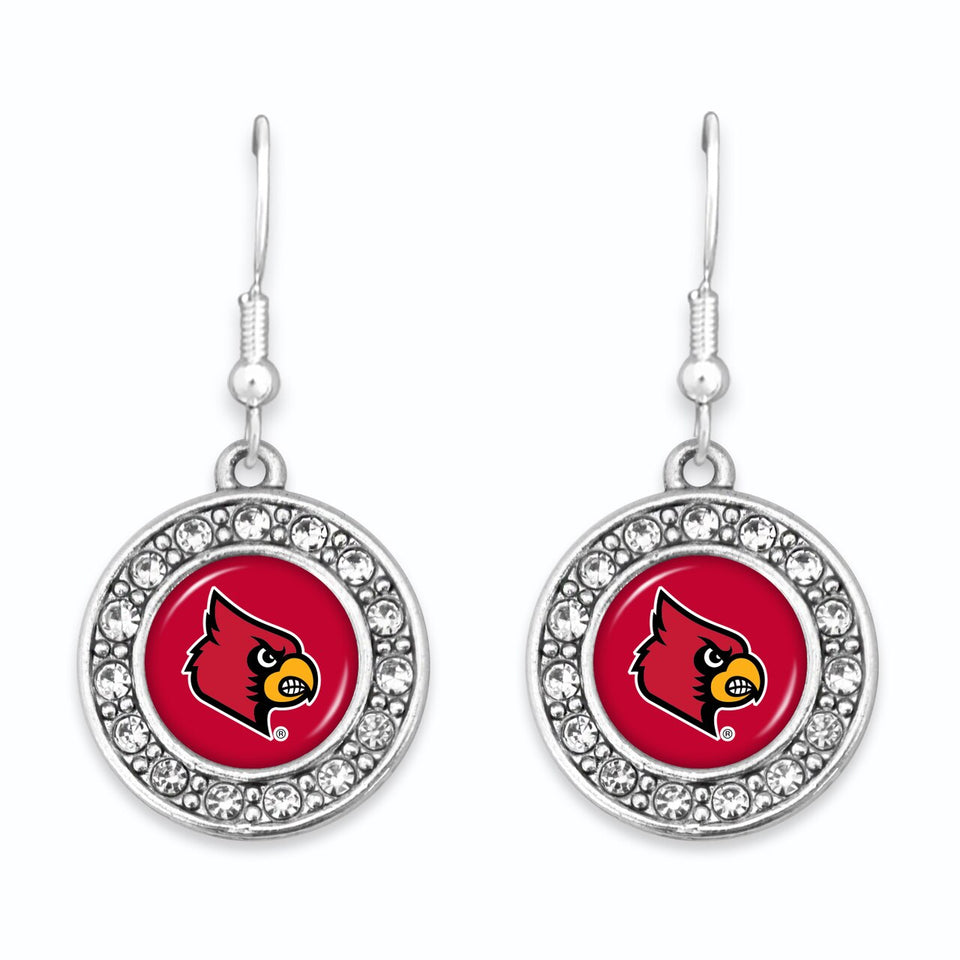 Louisville Cardinals Abby Girl Round Crystal Earrings