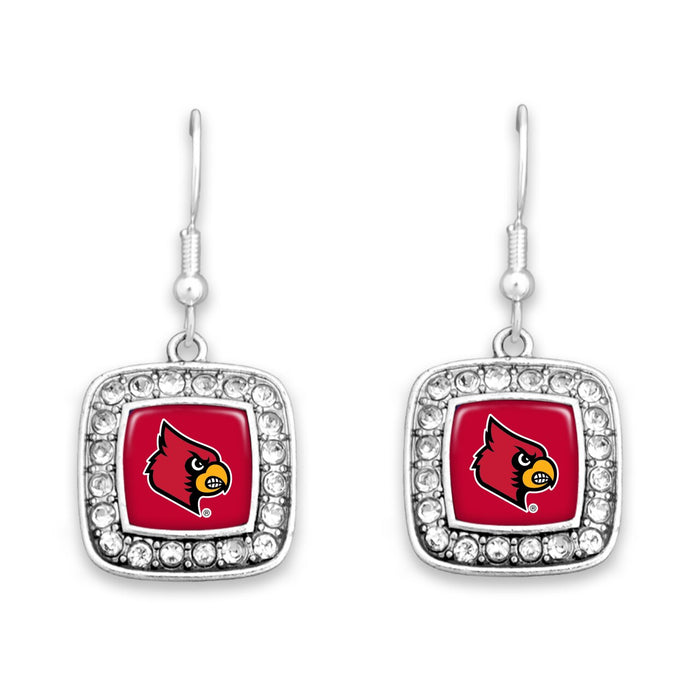 Louisville Cardinals Square Crystal Charm Kassi Earrings