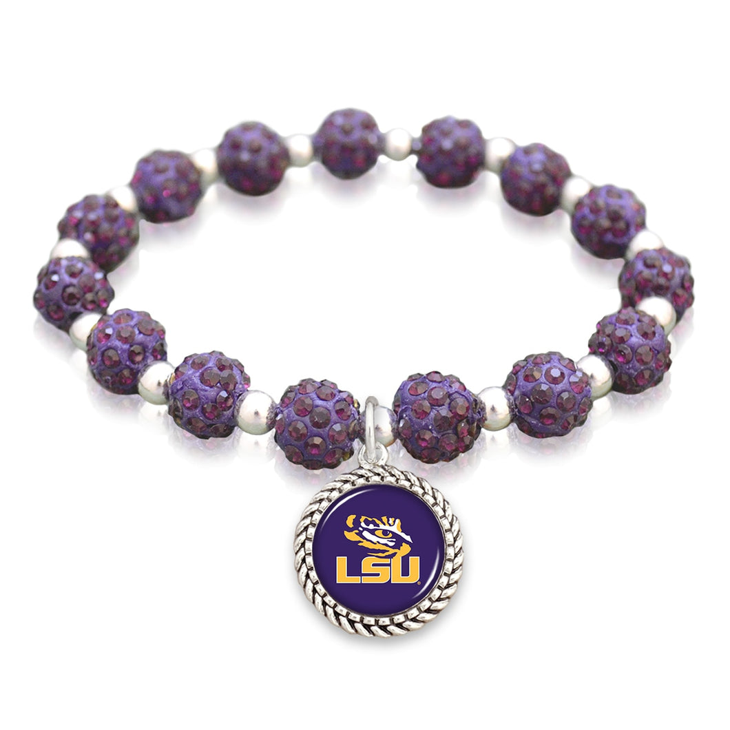 LSU Tigers Team Color Sparkle Stretchy Bracelet