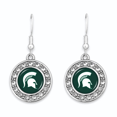 Michigan State Spartans Abby Girl Round Crystal Earrings