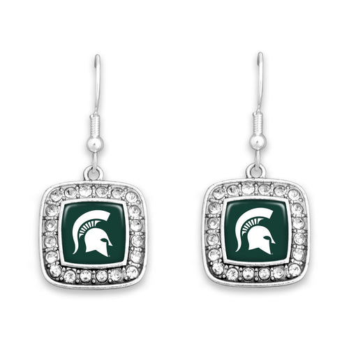 Michigan State Spartans Square Crystal Charm Kassi Earrings