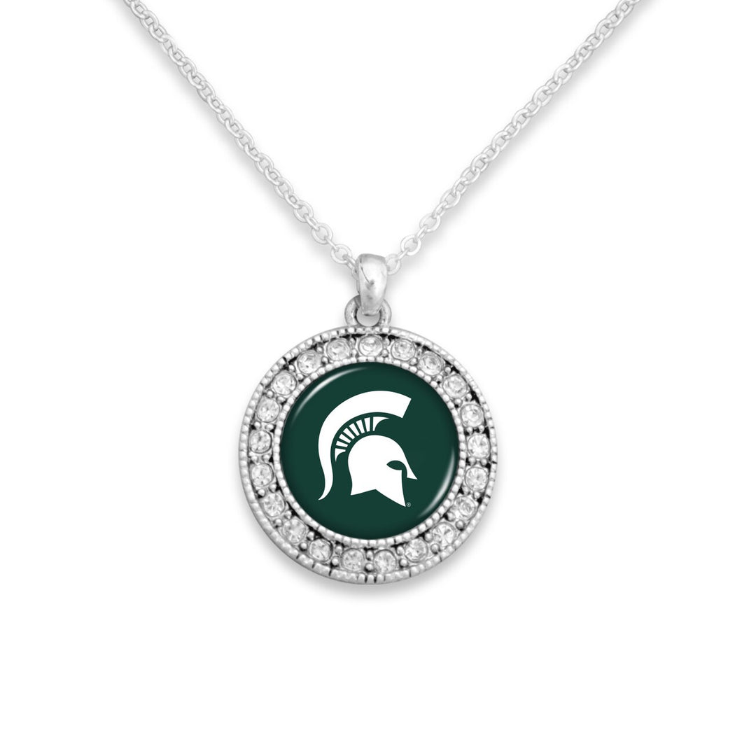 Michigan State Spartans Kenzie Round Crystal Charm Necklace