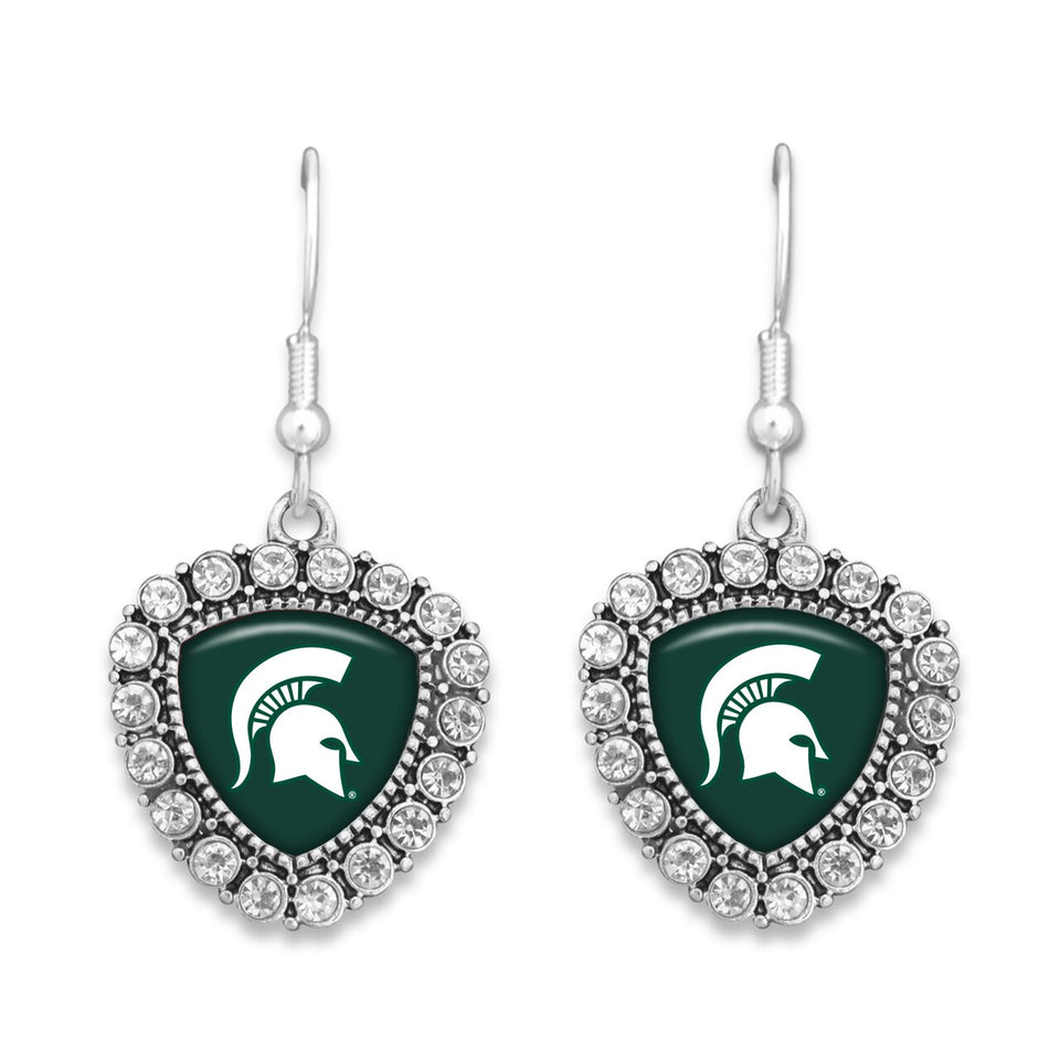Michigan State Spartans Brooke Crystal Earrings