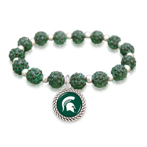 Michigan State Spartans Team Color Sparkle Stretchy Bracelet