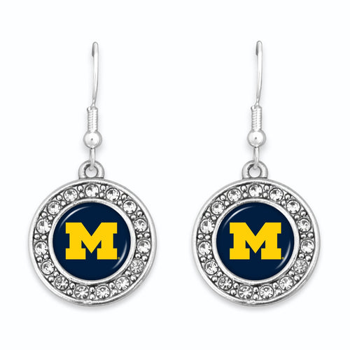 Michigan Wolverines Abby Girl Round Crystal Earrings