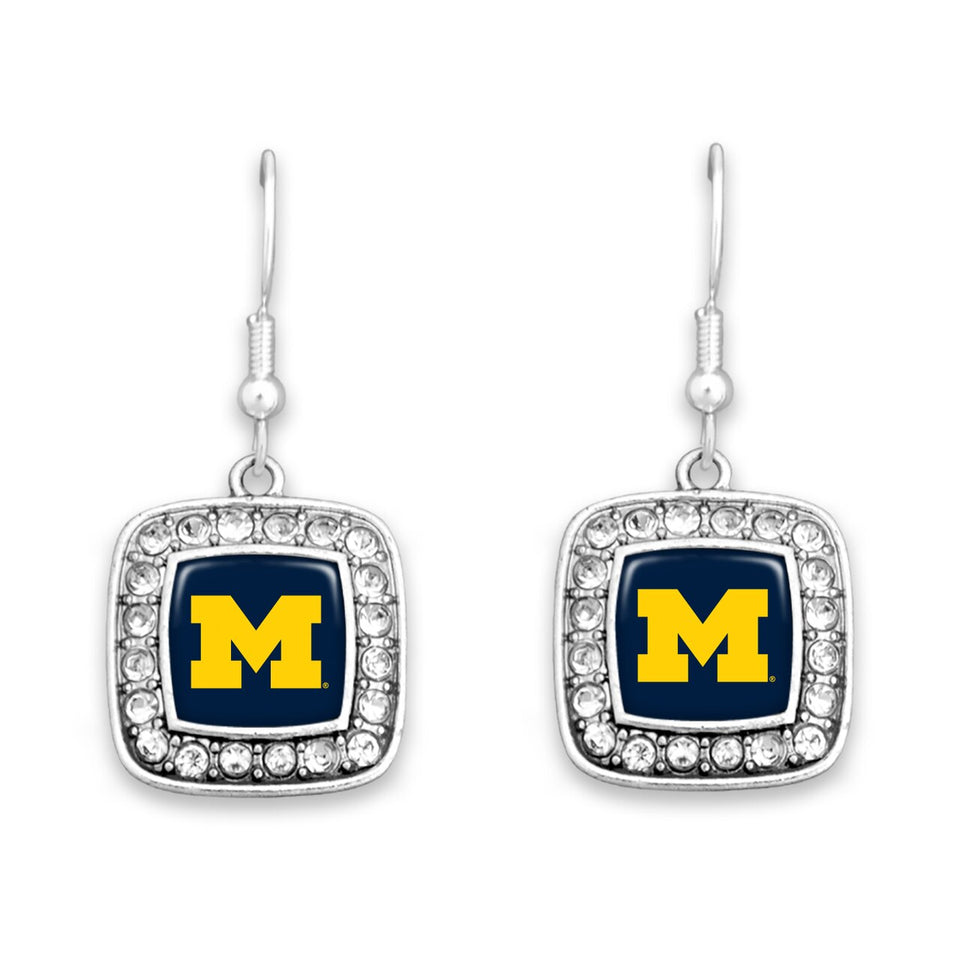 Michigan Wolverines Square Crystal Charm Kassi Earrings