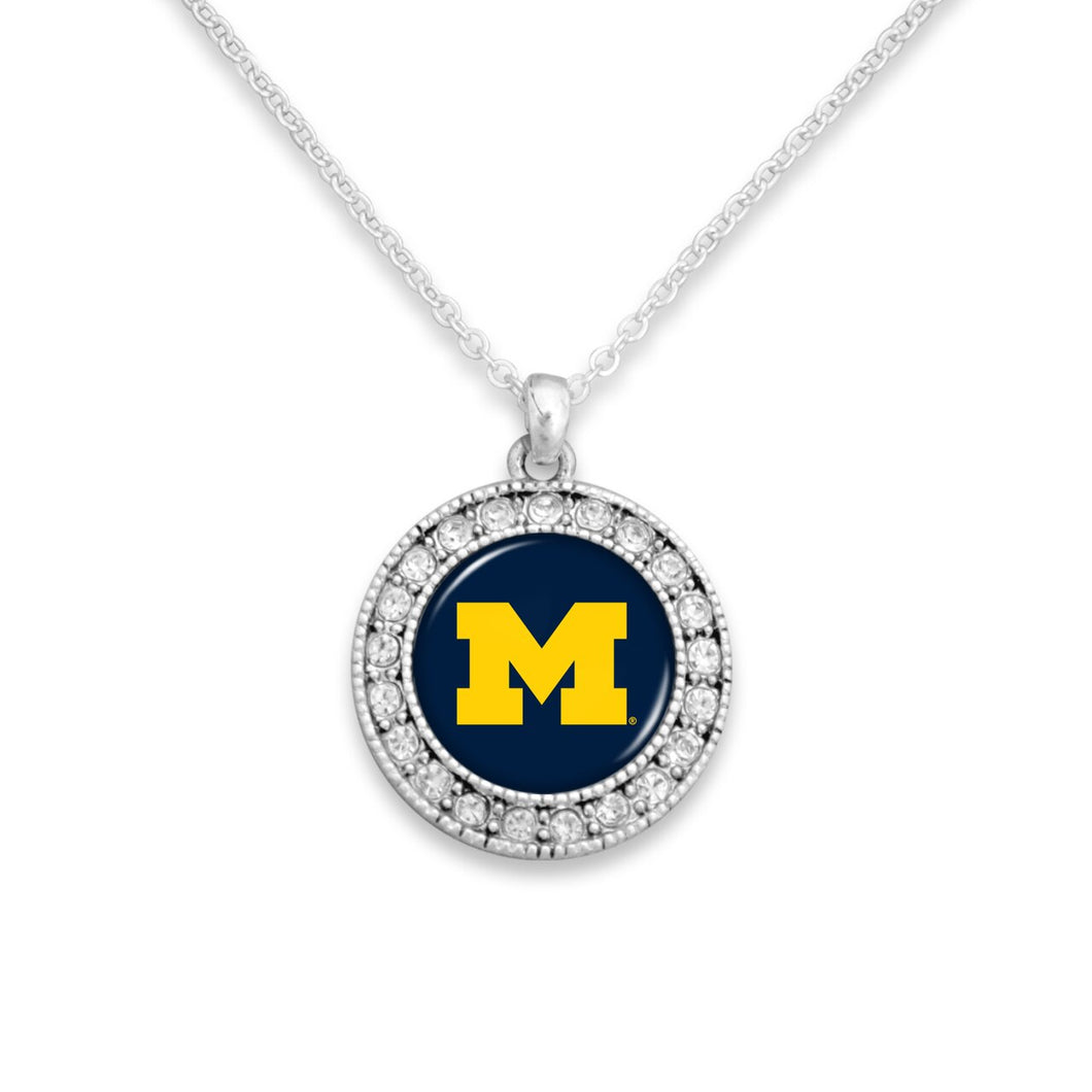Michigan Wolverines Kenzie Round Crystal Charm Necklace