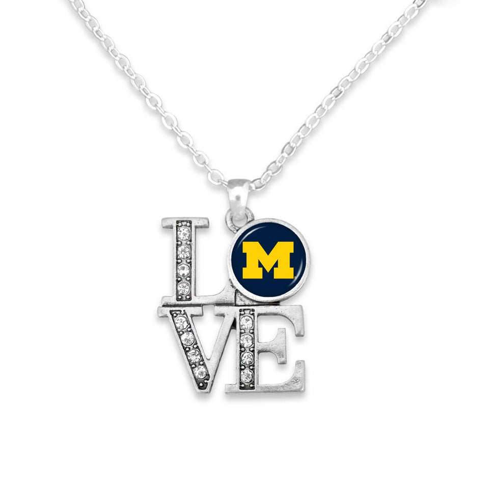 Michigan Wolverines LOVE Necklace
