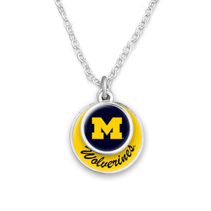 Michigan Wolverines Stacked Disk Necklace