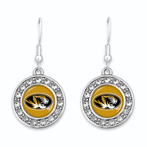 Missouri Tigers Abby Girl Round Crystal Earrings