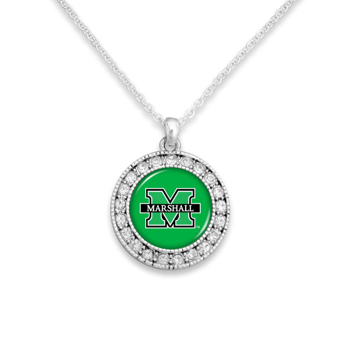 Marshall Thundering Herd Kenzie Round Crystal Charm Necklace