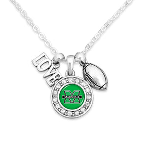 Marshall Thundering Herd Football, Love and Logo Necklace
