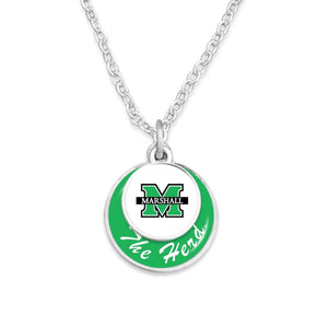 Marshall Thundering Herd Stacked Disk Necklace