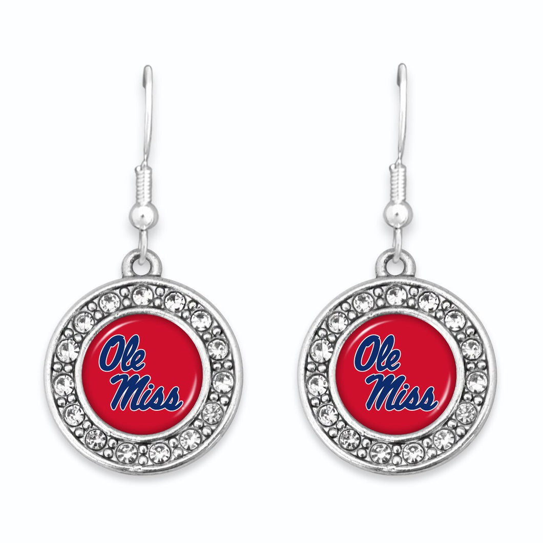 Ole Miss Rebels Abby Girl Round Crystal Round Crystal Earrings