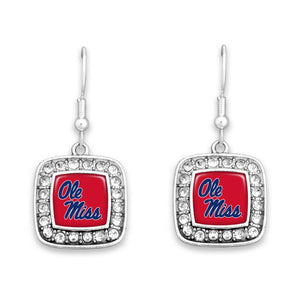 Ole Miss Rebels Square Crystal Charm Kassi Earrings