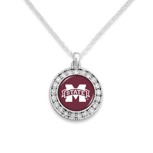 Mississippi State Bulldogs Kenzie Round Crystal Charm Necklace
