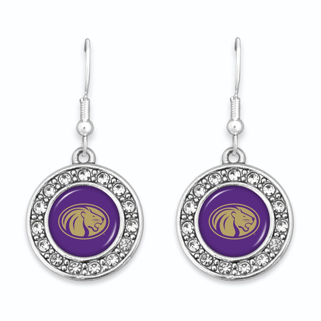 North Alabama Lions Abby Girl Round Crystal Earrings