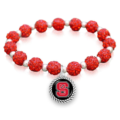 NC State Wolfpack Team Color Sparkle Stretchy Bracelet