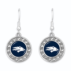 Nevada Wolf Pack Abby Girl Round Crystal Earrings