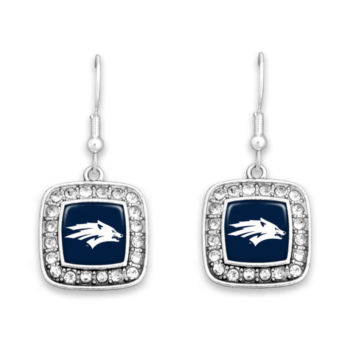 Nevada Wolf Pack Square Crystal Charm Kassi Earrings