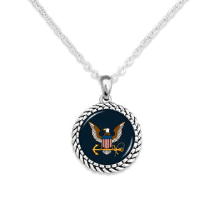 U.S. Navy Rope Edge Charm Necklace