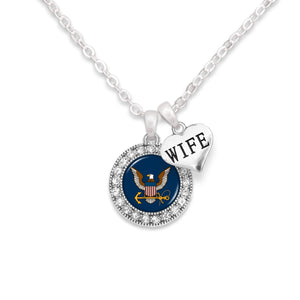 U.S. Navy Round Crystal Necklace with Wife Accent Charm