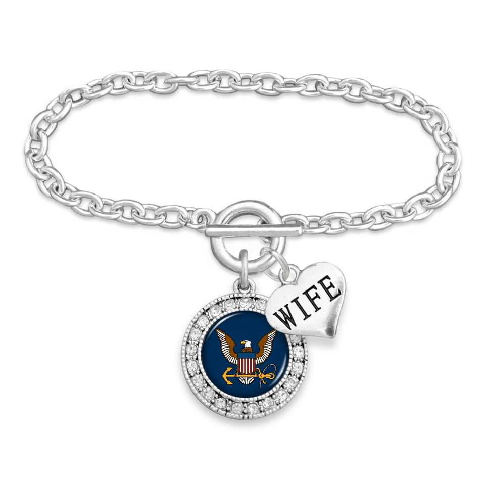 U.S. Navy Round Crystal Charm Bracelet with Wife Accent Pendant