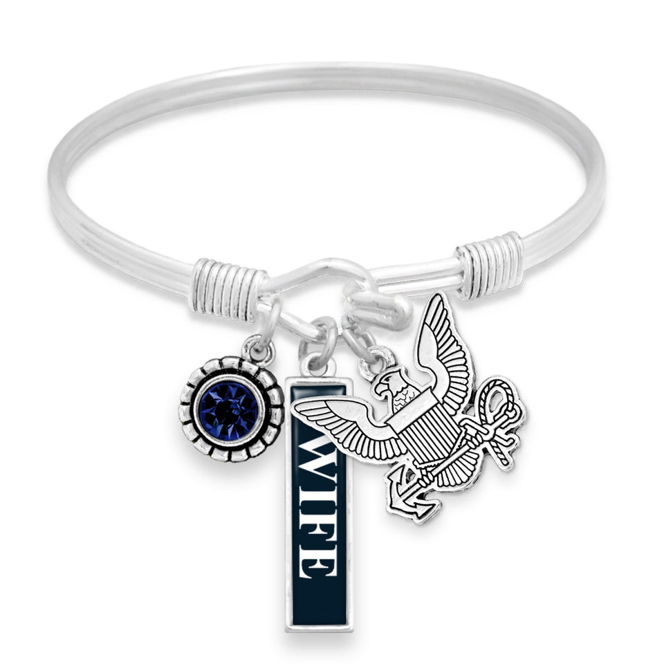 U.S. Navy Triple Charm Bracelet with Vertical Wife Pendant