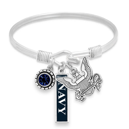 U.S. Navy Triple Charm Bracelet with Vertical Navy Pendant