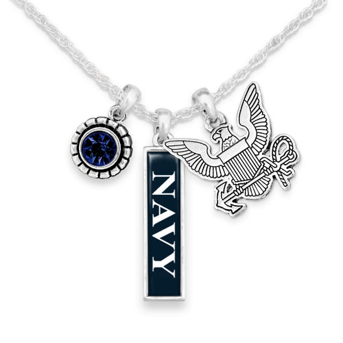 U.S. Navy Triple Charm Necklace with Vertical Army Pendant
