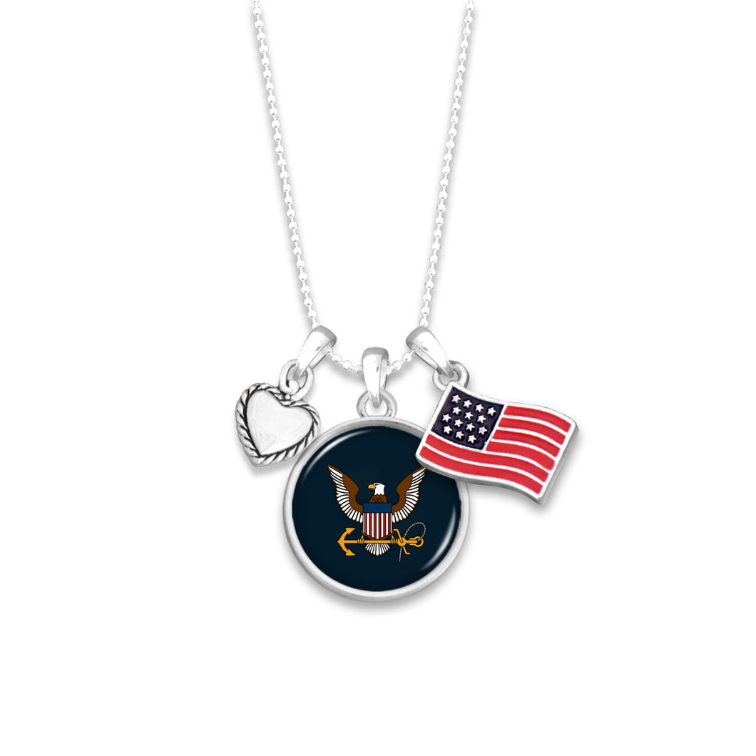 U.S. Navy Triple Charm Necklace with Flag Accent Charm