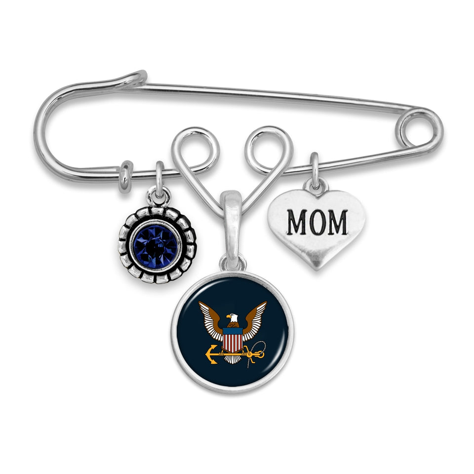 U.S. Navy Triple Charm Brooch with Mom Accent Charm