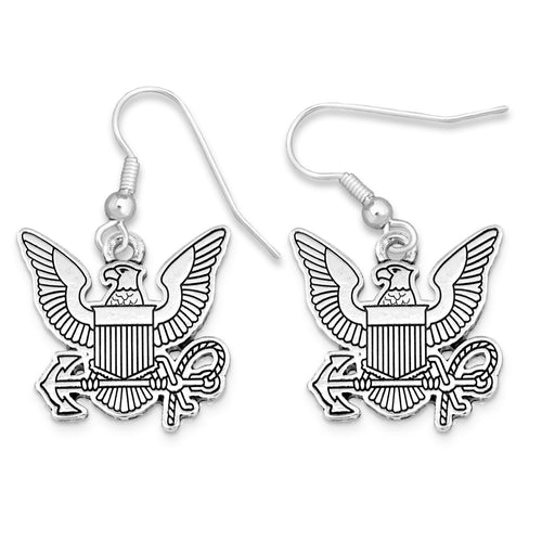 U.S. Navy Silver Logo Charm Earrings