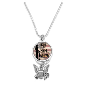U.S. Navy Home of the Brave (Soldier) with Silver Logo Car Charm
