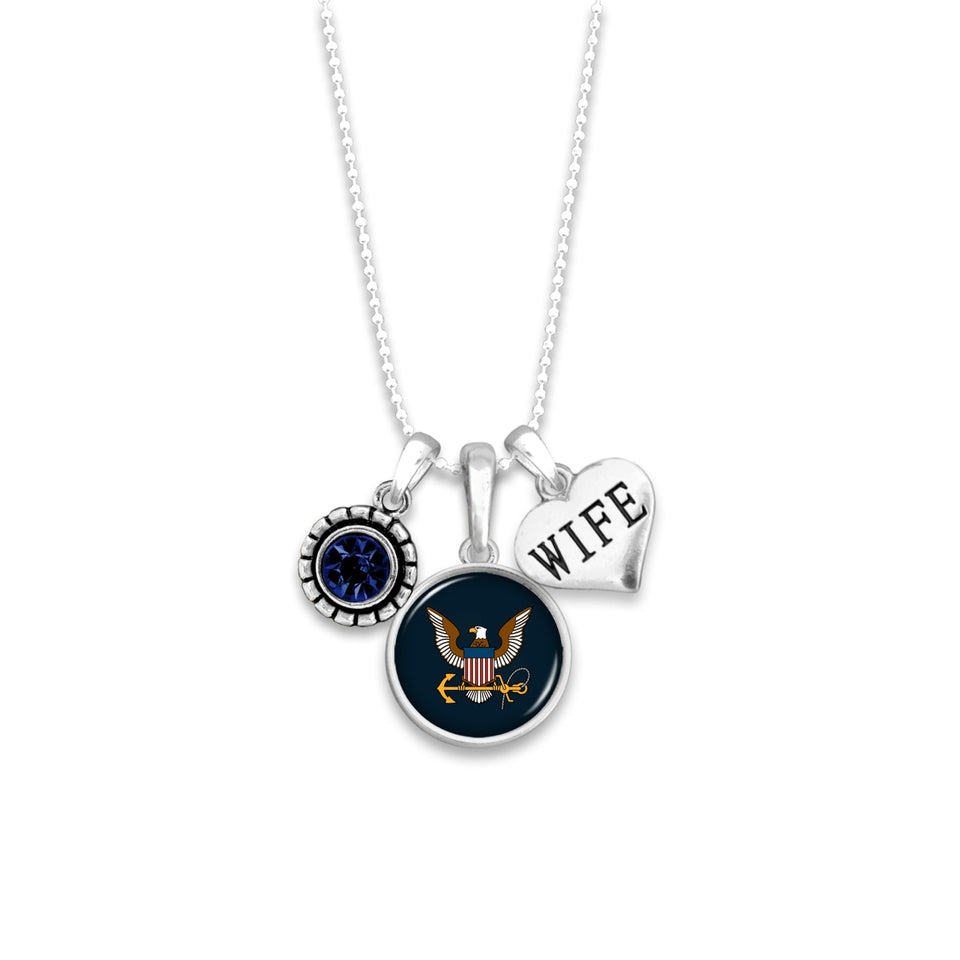 U.S. Navy Triple Charm Necklace for Wife