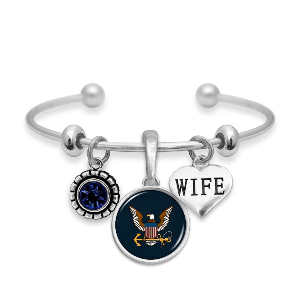 U.S. Navy Triple Charm Bracelet with Wife Accent Charm
