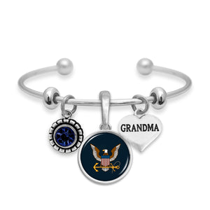 U.S. Navy Triple Charm Bracelet with Grandma Accent Charm